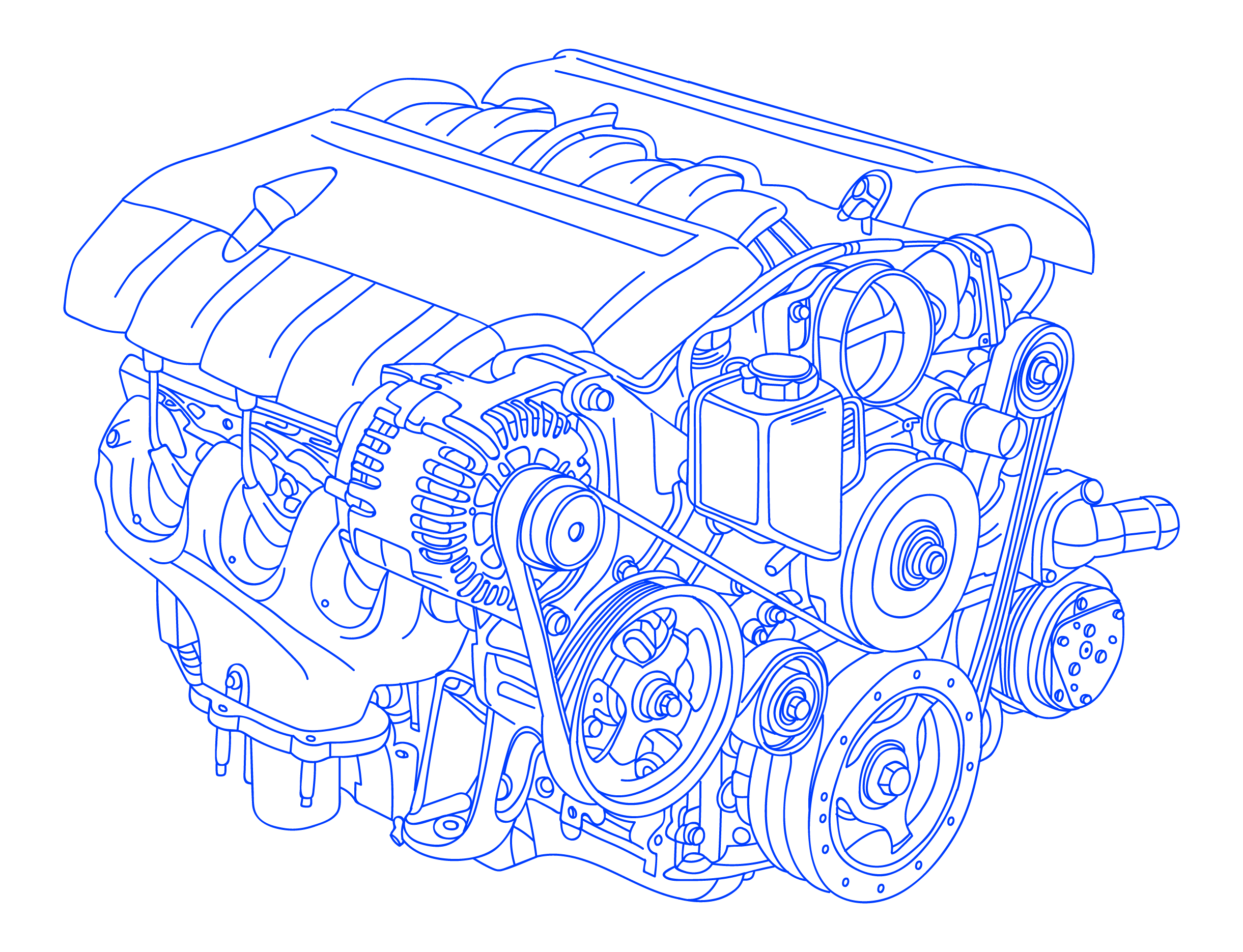 Hand Drawn Illustration of Newly Manufactured Engine Block
